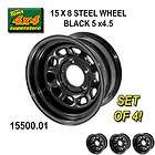 15500.01 15X8 5x4.5 JEEP WRANGLER BLACK Steel Wheels (SET OF 4) YJ, TJ