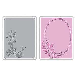 Embossing Folders Birds & Wreath 2 Folders 657086 A2 Birds of Feather