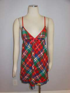 NWOT Free People Anthropologie Red Green Flannel Plaid Sweetheart Sun
