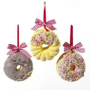Set of 3 Sugared Doughnut Christmas Ornaments