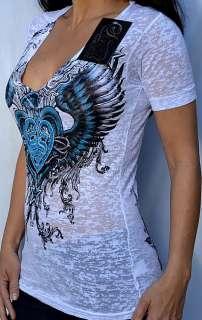 Sinful by Affliction FUCHSIA Womans V Neck T Shirt w/ Rhinestones