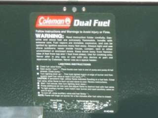 Coleman 424 Dual Fuel Camp Stove Unleaded Gas OK unused silver