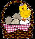 chick dances on basket of eggs animated gif