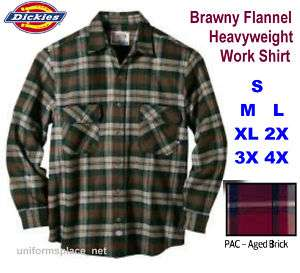 Dickies LONG SLEEVE Flannel Heavyweight plaid Shirt PAC