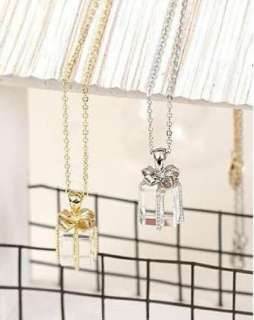 New Crystal Bowknot Tie Gift Box Necklace Women Jewelry Pendant Girl