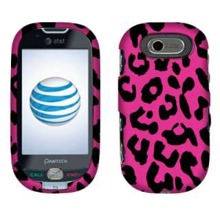 Pantech P2020 Ease Phone Leopard Hot Pink 2D Texture Hard Case Cover
