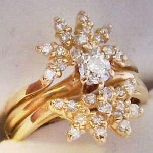 14K GOLD DIAMOND RING WEDDING SET 2/3ct UNIQUE