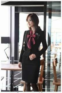 Korea Korean Women Long Sleeve Bowknot Vintage Shirts Lady Bowtie OL