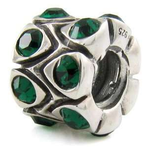 Sterling Silver May Crystal Drum European Bead Arts, Crafts & Sewing