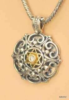 Sterling Silver 18K Gold Diamond Star of David Pendant Necklace