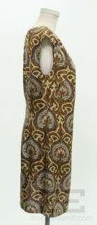 Milly Brown & Navy Blue Paisley Print Silk Cap Sleeve Dress