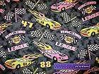 RACING LEAGUE Race Car Checkered Flag Flame Fabric BTFQ