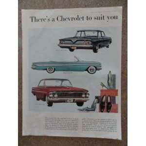 1961 Chevrolet, Vintage 60s full page print ad. (impala convertible