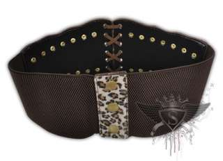 JB036 Brown Punk Rock Leopard Gothic EMO Rivet Belts