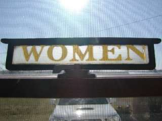 Etched Glass Women Sign w Cast Iron Frame  Old Signs Antique Men 6604