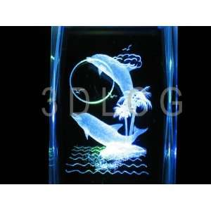 Dolphins with Full Moon 3D Laser Etched Crystal