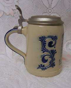 Vintage Goebel German Salt Glaze Lidded Beer Stein Mug