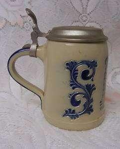 Vintage Goebel German Salt Glaze Lidded Beer Stein Mug |
