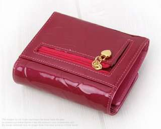 Genuine Leather Trifold Mini Wallet Coin Purse Pink Red Wine G0457US