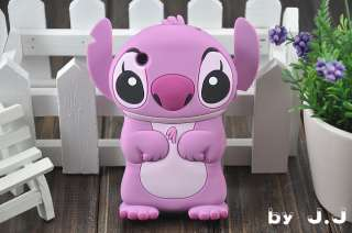 NEW Cute Blue / Pink 3D Stitch Silicone Cover Case for Apple iPhone 3