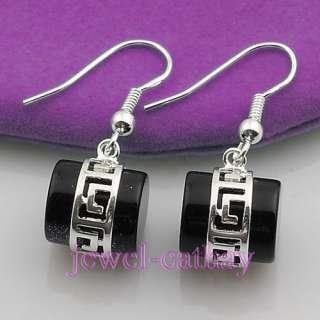 Goodly lovely Black Agate Gemstone Bead Dangle Earrings
