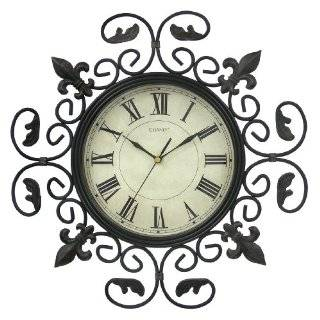 Large Wrought Iron Fleur De Lis Metal Wall Clock Decor