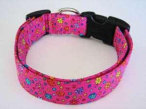 Charming Hot Pink Multi Color Flowers Dog Collar Medium