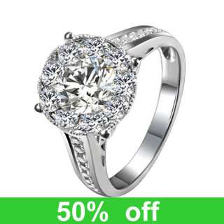 14K White Gold DIAMOND Solitaire Halo Engagement Wedding Ring