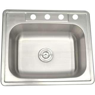 25x 22 20 Gauge Stainless Steel Single Bowl Top Mount Kitchen Sink
