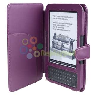 Leather Skin Case Cover Wallet Pouch For  Kindle 3 3G Keyboard