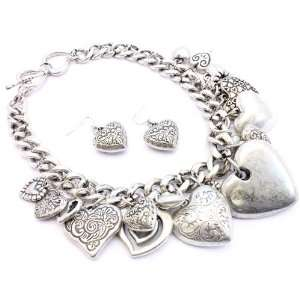 Dangling Silvertone Hearts Charm Necklace Earring Set Jewelry
