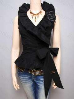 New Womens Black Ruffled Collared Wrap Sleeveless Blouse Shirt Top M