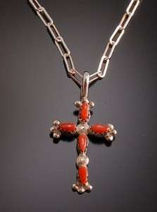 Natural Mediterranean Red Coral Cross Pendant ~ Zuni handmade Sterling