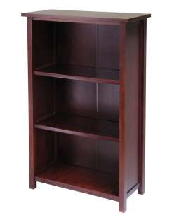 Milan 4 Tier Antique Walnut Solid Wood Book Shelf Storage Bookcase