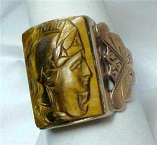 ANTIQUE MENS TIGER EYE CAMEO   ROSE GOLD RING