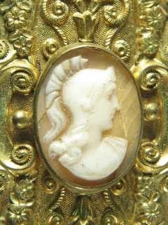 ANTIQUE ENGLISH GILT SHELL CAMEO PIN BROOCH ATHENA 1840