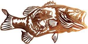 BASS FISHING RUSTIC METAL ART LODGE DECOR WALL HANGING