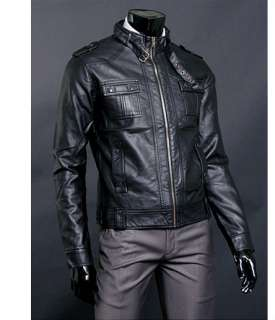High Qulity Black Mens Rider Leather Jacket US Size M