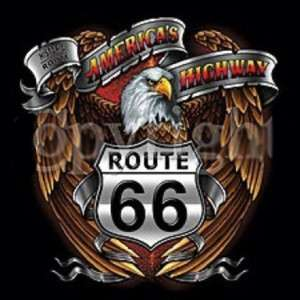 Americas Highway Route 66 Eagle car biker T Shirt