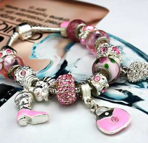 g2b pink charm bracelet w crystal,heart,bead,17 charms