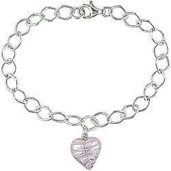 Silver Murano Glass Pink Heart Charm Bracelet