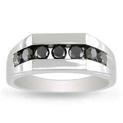 10k White Gold 1ct TDW Black Diamond Mens Ring