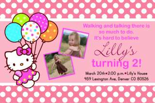 Custom Pink Polka Dot Hello Kitty Birthday Invitations Card
