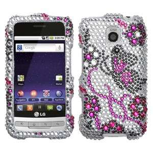 Elegant Butterfly Bling Case Cover LG Cricket Optimus C