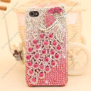 Pink 3D peacock Bling Crystal rhinestone hard Case Cover for Apple