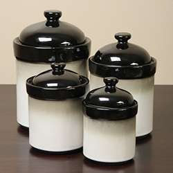 Sango Nova Black 4 piece Kitchen Canister Set