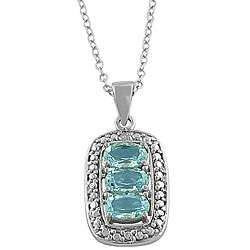 Sterling Silver 3 stone Blue Topaz and Diamond accented Necklace