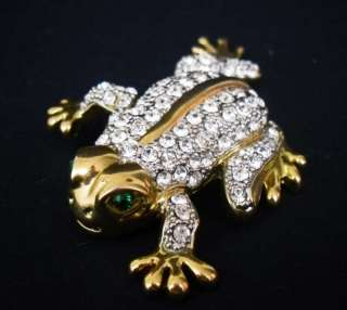 Vintage Frog Crystal Rhinestone Gold Tone Brooch Pin