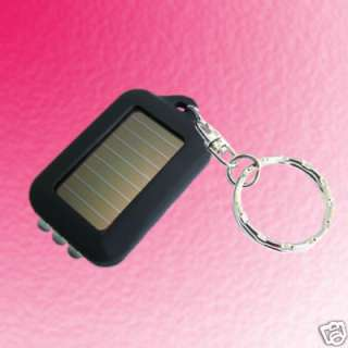 Mini Solar Power 3 LED Flashlight Torche Key chain Blk