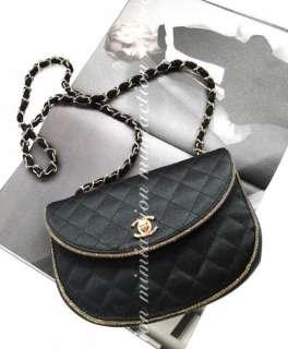 Auth Chanel black silk QUILTED VINTAGE HANDbag evening bag purse #2762